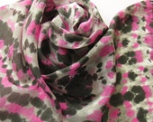 Hand Painted Silk Scarf - Handpainted Scarves Pink Black Magenta Fuchsia White Gray Grey Tie Dye