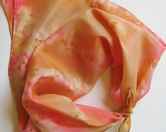 SALE Hand Painted Silk Square Scarf - Hand Dyed Bandana Pink Salmon Coral Peach Orange