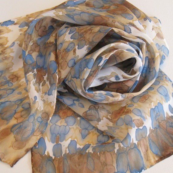 River Walk Silk Scarf Hand Painted and Dyed by Palettepassion