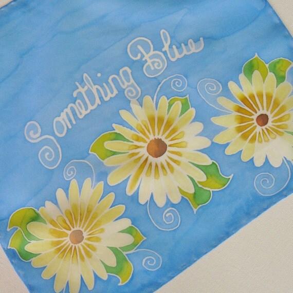 Something Blue Silk Handkerchief Hand Painted Ladies Bridal Hankie Scarf Blue Yellow Daisy