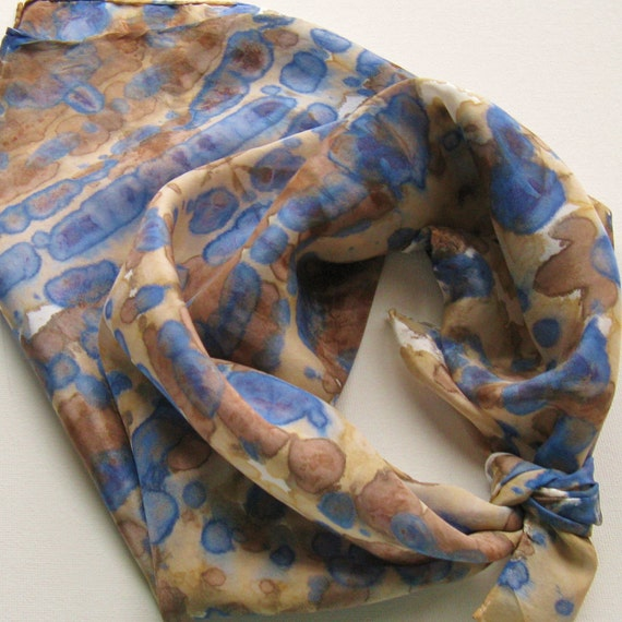Hand Painted Silk Square Scarf - Hand Dyed Bandana Navy Blue Dark Royal Chocolate Brown Tan Beige Cream White Beach