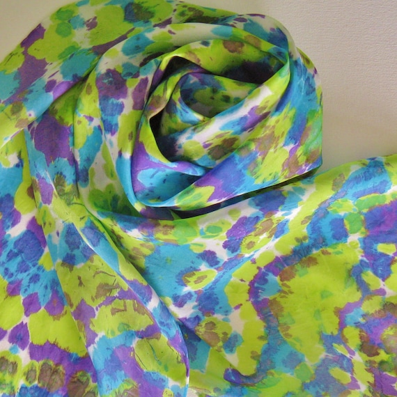 SALE Silk Scarf - Chameleon - Hand Painted Ladies Scarves Peacock Lime Green Chartreuse Turquoise Blue Violet Purple White Tie Dye