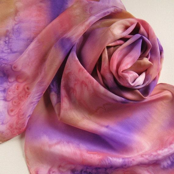 Silk Scarf - Daybreak - Hand Painted Ladies Scarves Coral Pink Salmon Purple Violet Yellow Cream