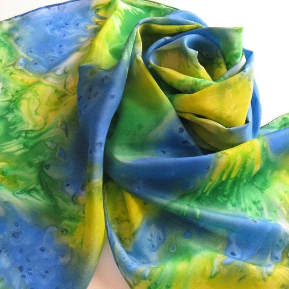 Silk Scarf - Summer - Hand Painted Ladies Scarves Sapphire Blue Grass Green Lemon Yellow