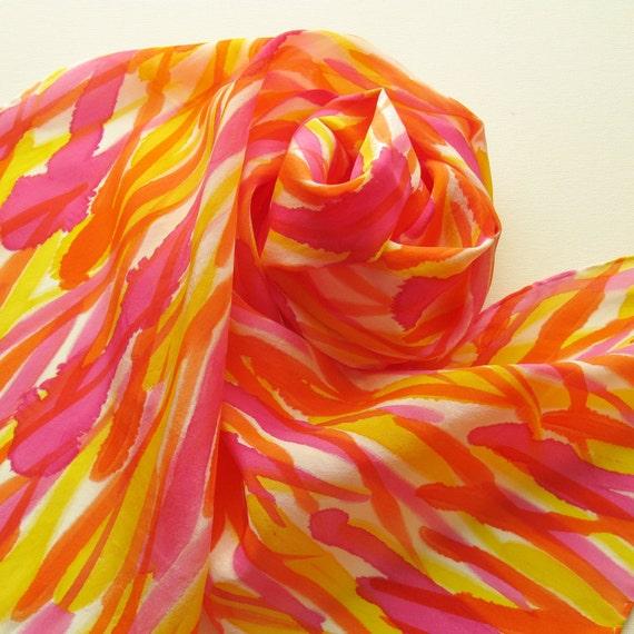 Silk Scarf - Circus - Hand Painted Ladies Scarves Yellow Pink Magenta Orange Stripes Bright White
