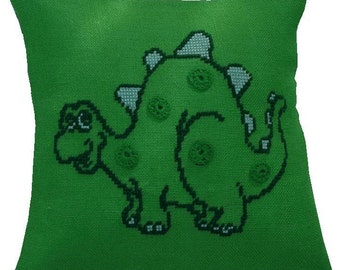 Needlepoint pattern DINOSAUR - pillow cover,green,scandinavian,cross stitch,embroidery,cushion,handmade,diy,nursery,anette eriksson,animals