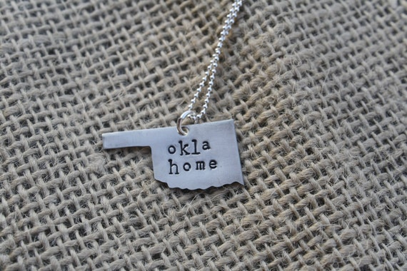 Hand Stamped Oklahoma Necklace