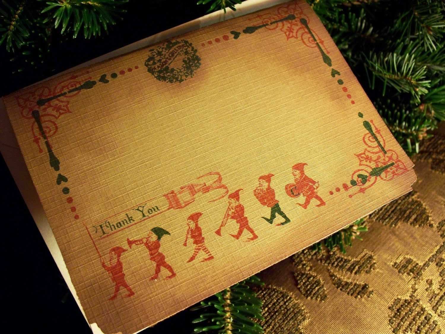 Marching Elves Thank You Card and Envelope-Set of 8-On Textured Antiqued Colonial Gold Linen