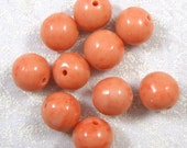 Vintage Soft Coral Orange Sherbet Round Lampworked Glass Beads, 15