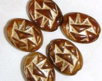 Vintage Chocolate and Butterscotch Glass Beads with Heavy Gold Embellishment, 8