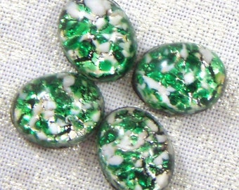 Vintage Green and Silver Faux Opal Glass Cabochons , 10X8 mm, 6