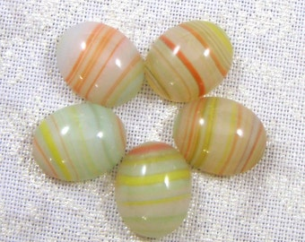 Vintage Glass Moonstone Cabochons, Multicolor, Banded Agate Appearance, 10X8 MM, (6)