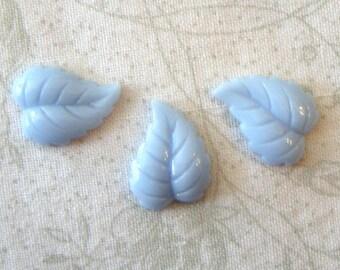 Vintage Detailed Light Sapphire Flat Back Glass Leaf Cabochons, 6