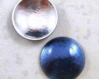 Vintage Western Germany Sapphire Blue Reflector Glass Cabochons, 30 MM Round, 2