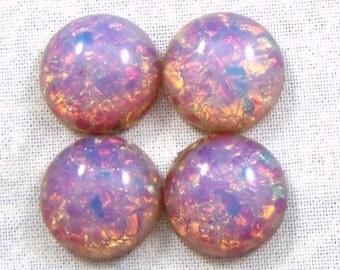 7 MM Vintage Round Pink Harlequin Glass Opal Cabochons, 6