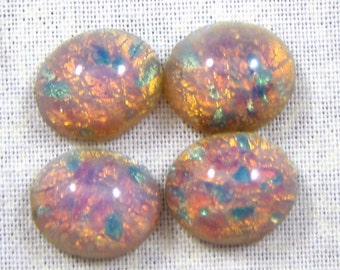 Vintage Glass Pink Fire Opal Cabochons, 8X6 mm, 6