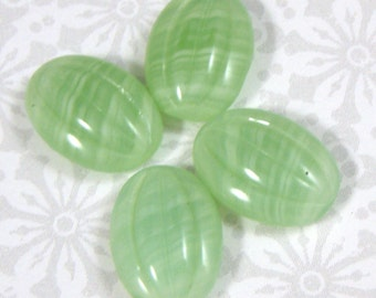 Vintage Light Green Ribbed Melon Shaped Glass Cabochons with Striations, 12X10 MM Oval, 6