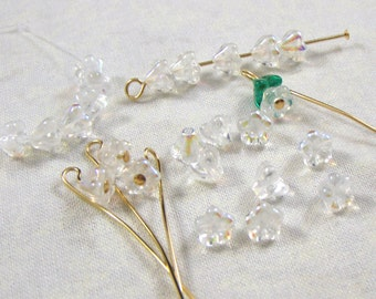 Crystal AB Baby Bell Flower Glass Beads, 25