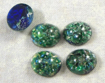 Vintage Green Glass Faux Opal Cabochons, 12X10 MM, 4