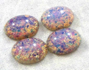 Vintage Glass Opal Cabochons, Pink Fire Opal, 14X10 MM Oval, 4