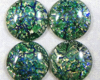 Vintage Emerald Green Glass Opal Art, 18 MM Round Cabochons, 4