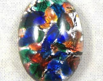 Black Multi Glass Opal Cabochon, 25X18 MM Oval