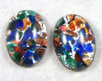 Czech foiled Art glass faux oval opal,18x13mm, Listing for 2