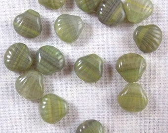 Olive and Sage Green Shell Shaped Glass Beads, Chlorella Green, 25