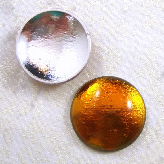 Vintage West German Gold or Topaz Art Deco Style Reflector Cabochons, 30 MM, 2
