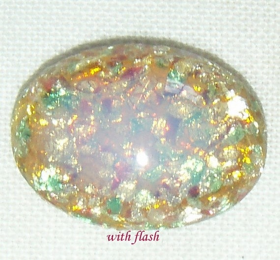 Vintage Pastel Multicolor Harlequin Type Faux Fire Glass Opal Cabochons, 18X13 MM Oval , 2