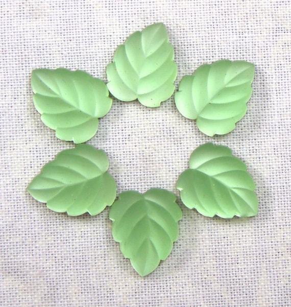 Glass Leaf Cabochons,  Luminous Matte Peridot Green, 6