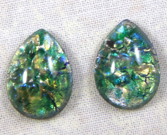 Vintage Emerald Green Glass  Fire Opal Cabochons18X13 MM Pear, 2