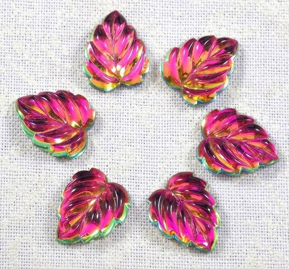 Glass Leaf Cabochons,  Vitrail Medium, 6