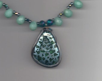 BEADINMAMA'S Amazonite and Sea Green Hearts Necklace