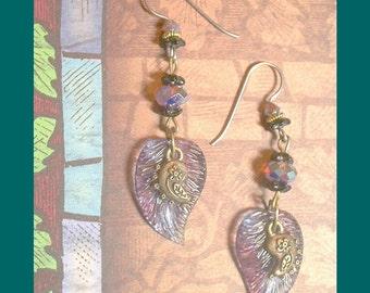 BEADINMAMA'S Paisley and Purple Leaf Earrings