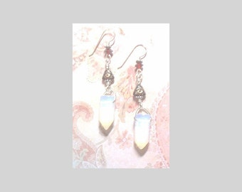 BEADINMAMA'S Sea Opal Crystal Ruby Pyramid Eye Earrings