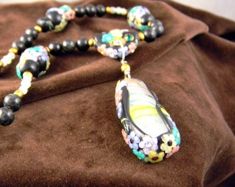 Spring Rain Art Glass, Biotite, and Polymer Beaded Necklace