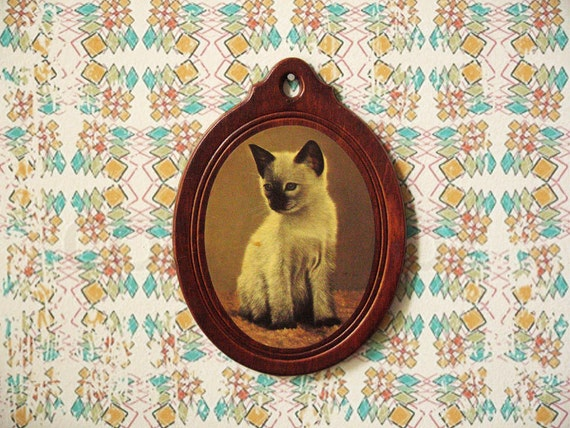 Vintage Photograph of a Siamese Kitten on Wooden Oval Frame