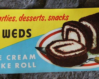 VINTAGE NOS Newly Weds Ice Cream Cake Roll Paper Sign