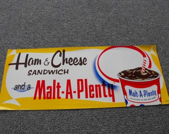 VINTAGE Ham and Cheese and Malt A Plenty Paper Advertising Poster NOS