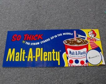 Vintage Malt A Plenty Paper Advertising Sign NOS  Ottawa KS  Bennett's