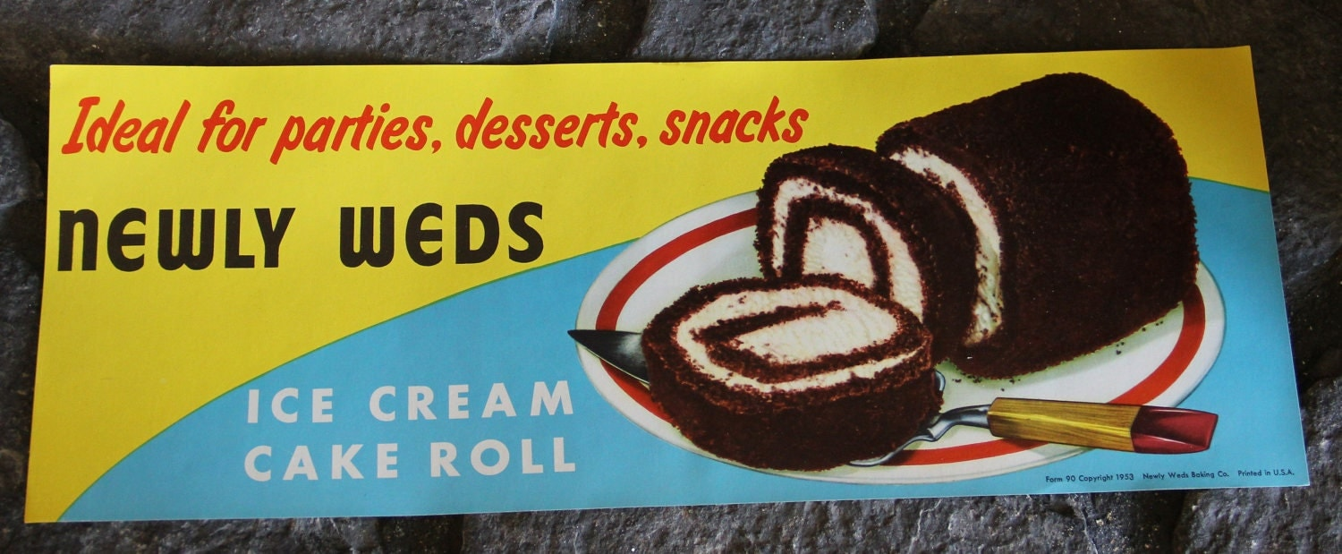 Cake Ice Cream Roll : VINTAGE NOS Newly Weds Ice Cream Cake Roll Paper Sign