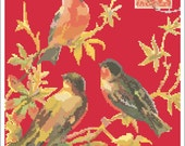 Three Vintage Birds Needlepoint Pattern