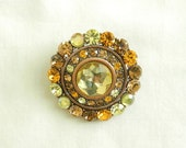 Beautiful Vintage Lemon Citrine and Gold Rhinestones Circle Brooch or Pendant