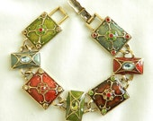 Vintage Red and Green Poured Enamel Rhinestones and Glass Cabochons Bracelet