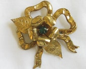 Vintage Leaf and Ribbon with Green Rhinestones Brooch or Pin