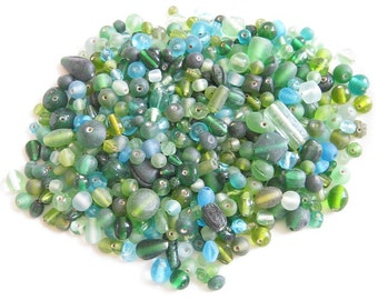 Shades Of  Green Mixed Glass Beads