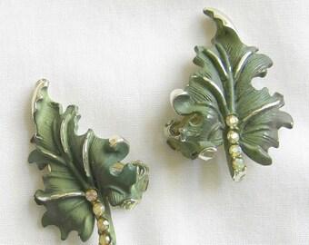 Vintage Deep Green Enamel and Aurora Borealis Rhinestones Leaf Earrings Signed BSK