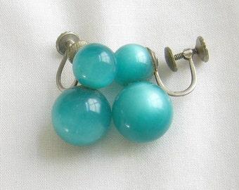 Vintage Turquoise Blue Moonglow Bead Earrings