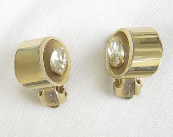 Vintage Oval Gold Tone and Clear Rhinestones Earrings